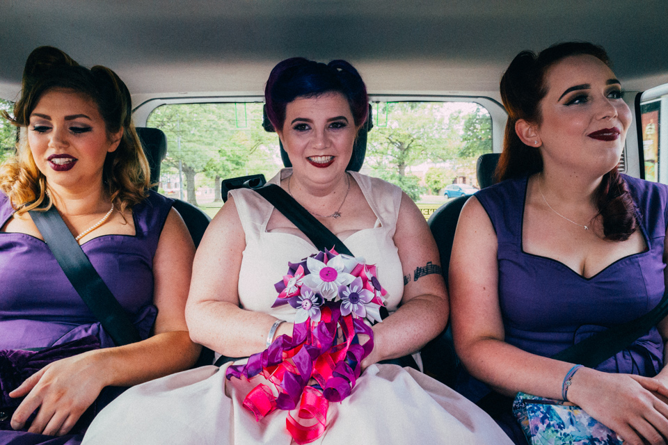 Kim and her bridesmaids on the way to the wedding