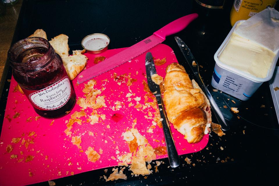A hasty breakfast
